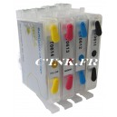 CR-T615 Pack de 4 Cartouches rechargeables  livrées pleines avec puce auto-reset compatibles EPSON équivalent pack T0615.