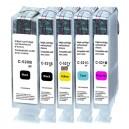 C-520/521 PACK, Multipack de 5 cartouches compatibles équivalent à  pgi520bk + 1cli521bk + 1cli521c + 1cli521m + 1cli521y